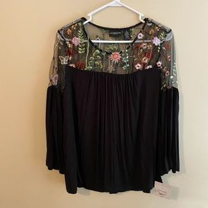 Black Sheer Embroidered Flowy Top NWT